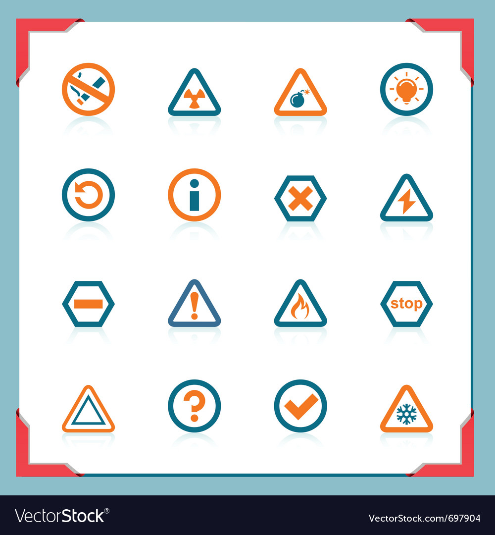 Warning signs  in a frame series vector