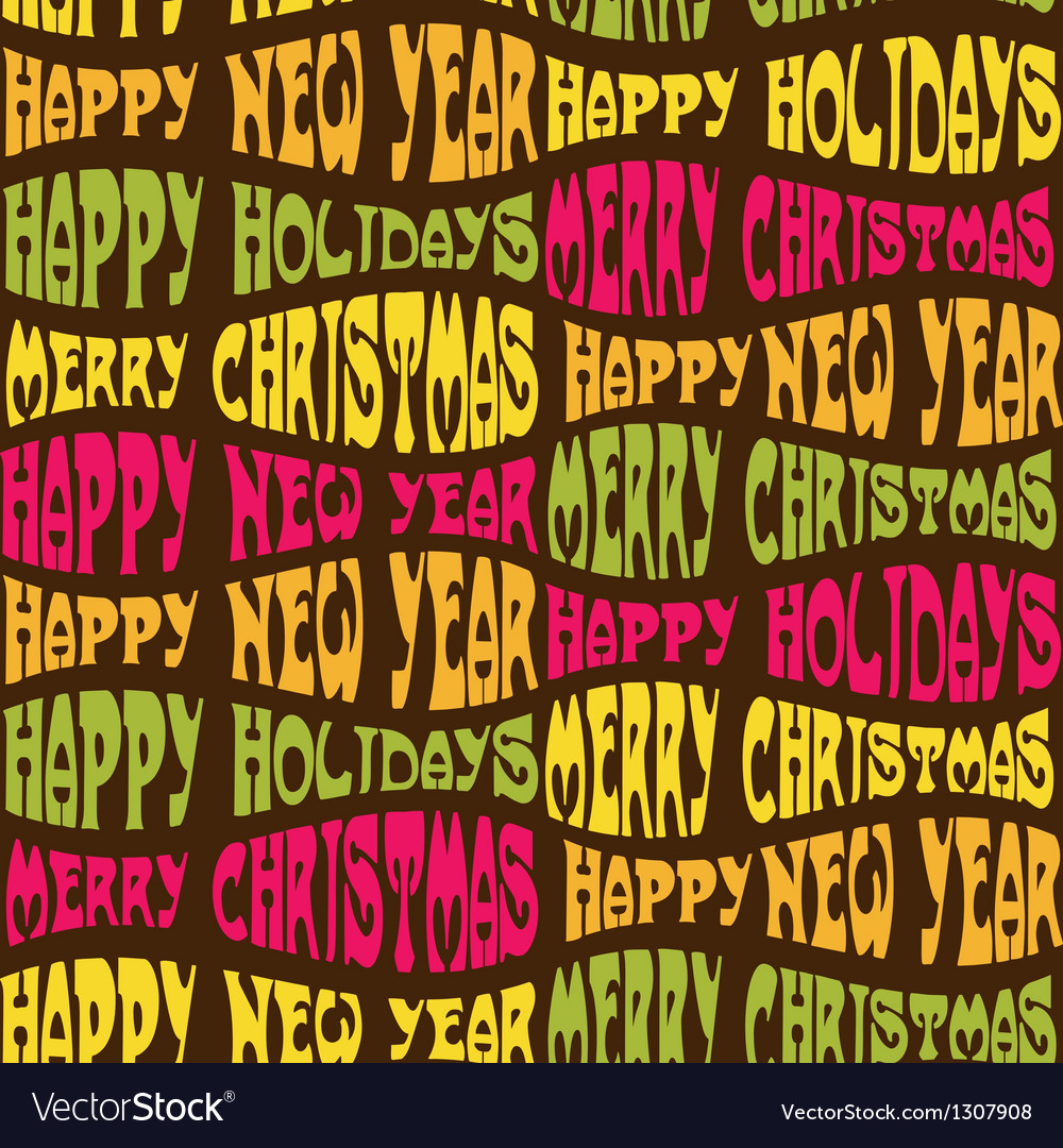 Seamless christmas background from different words vector