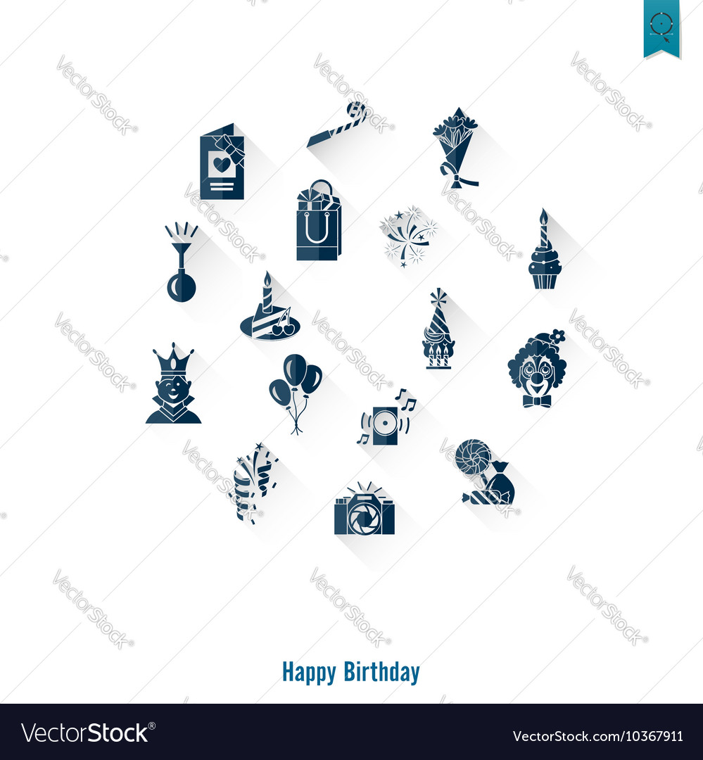Happy birthday icons set vector by HelenStock - Image #10367911 ...: https://www.vectorstock.com/royalty-free-vector/happy-birthday...