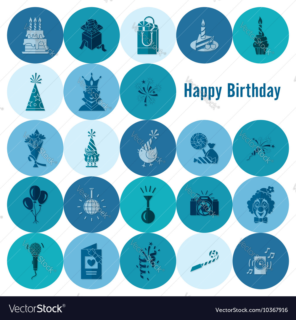 Happy birthday icons set vector by HelenStock - Image #10367916 ...: https://www.vectorstock.com/royalty-free-vector/happy-birthday...