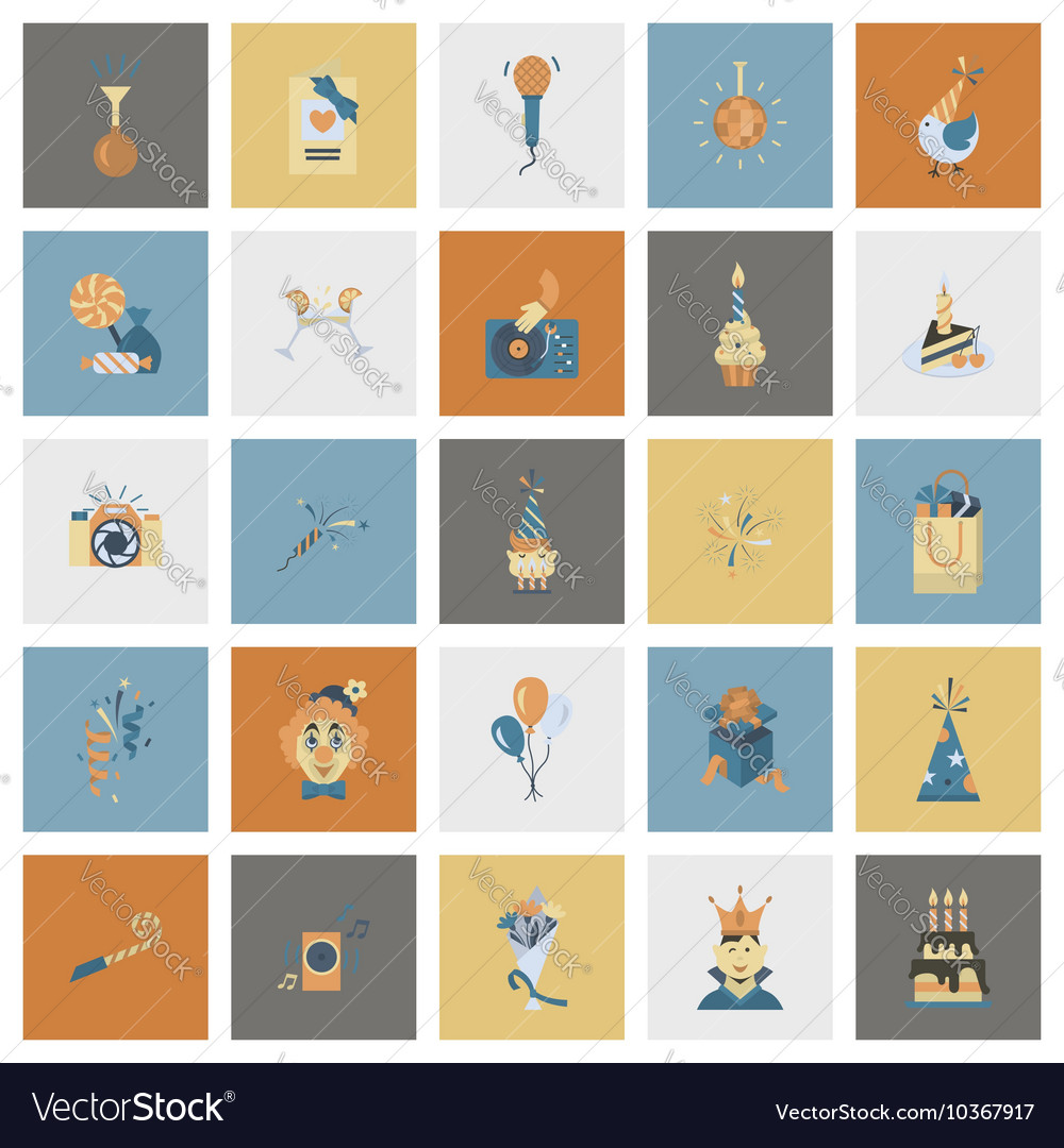 Happy birthday icons set vector by HelenStock - Image #10367917 ...: https://www.vectorstock.com/royalty-free-vector/happy-birthday...