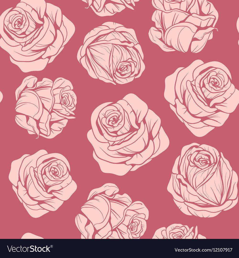 Pattern of flowers pink roses