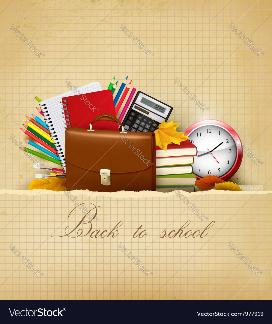 Old background with school supplies vector