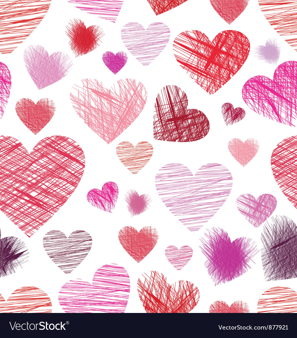 Sketchy hearts seamless vector
