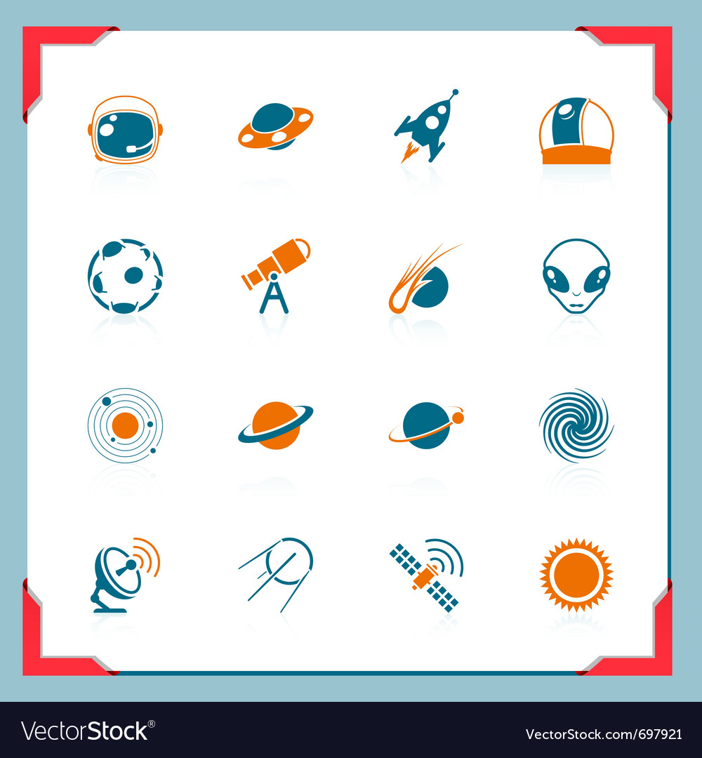 Space icons  in a frame series vector