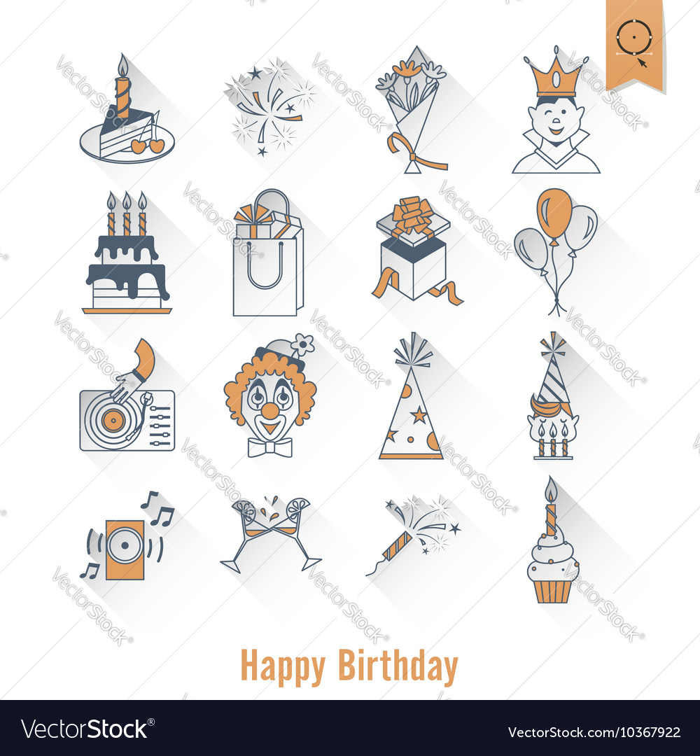 Happy birthday icons set vector by HelenStock - Image #10367922 ...: https://www.vectorstock.com/royalty-free-vector/happy-birthday...