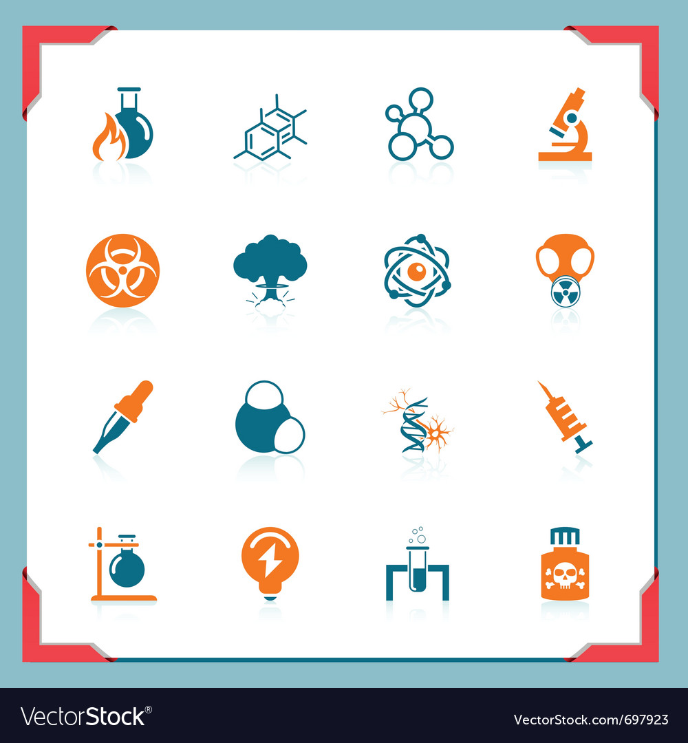 Science icons  in a frame series vector