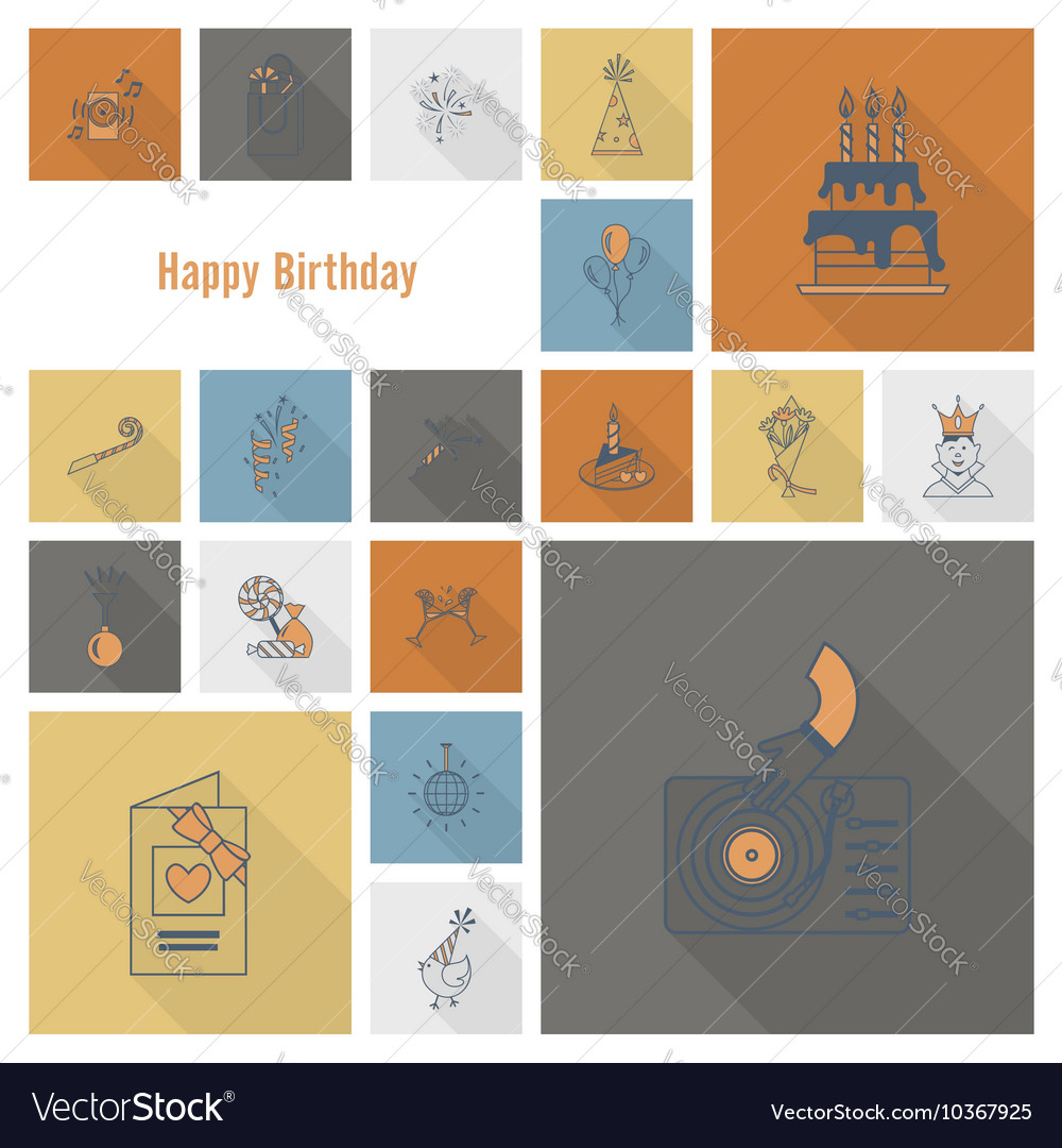 Happy birthday icons set vector by HelenStock - Image #10367925 ...: https://www.vectorstock.com/royalty-free-vector/happy-birthday...