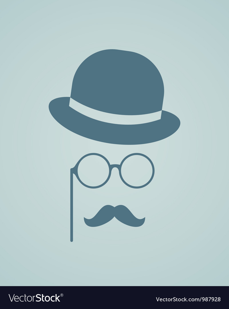 Hat glasses and mustache vector