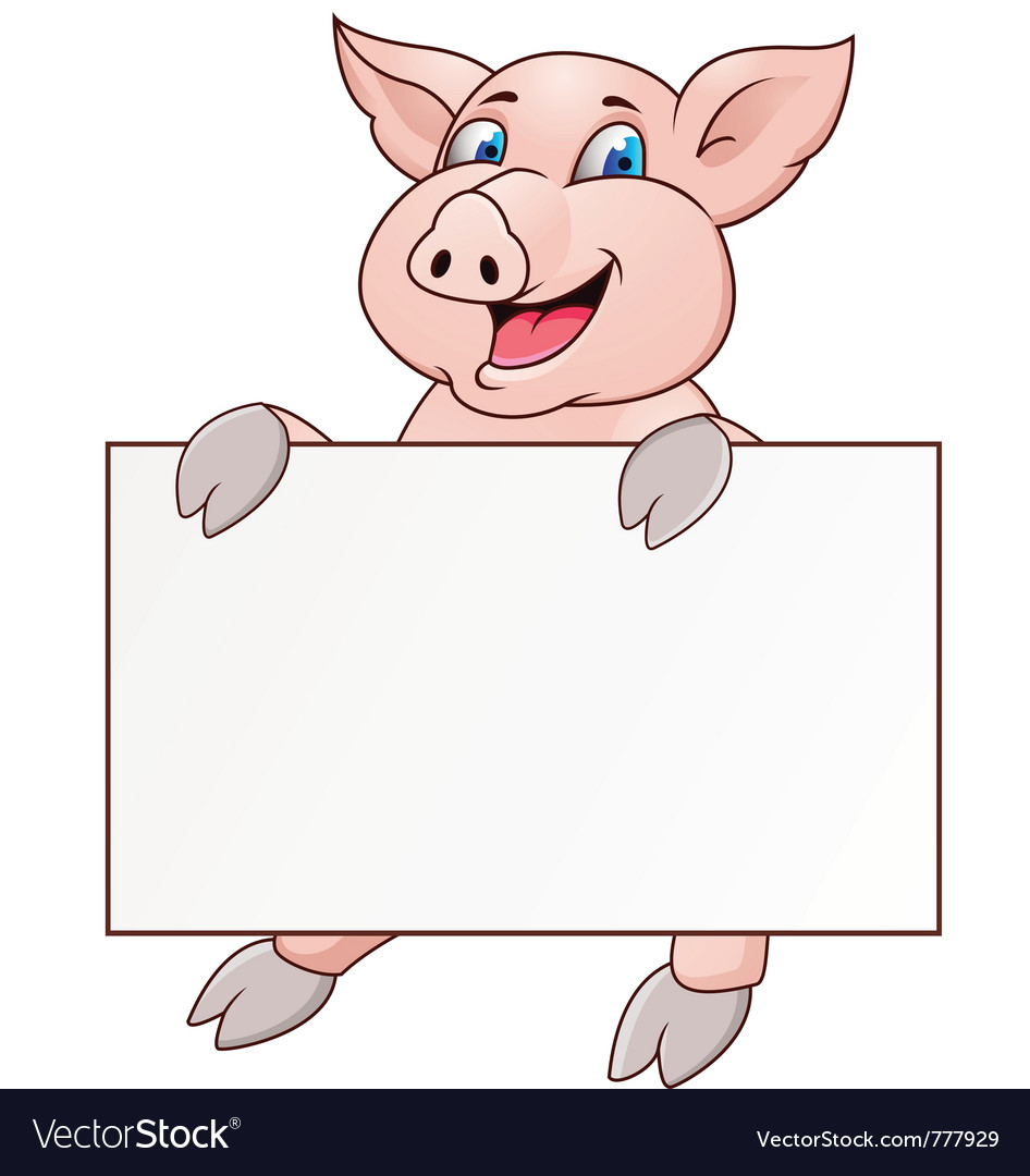 Pig with blank signboard vector