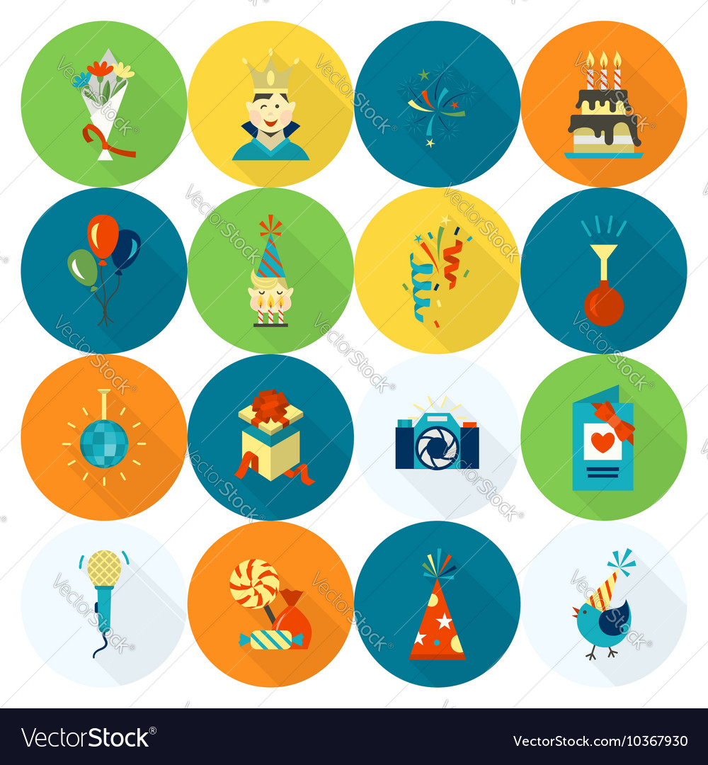 Happy birthday icons set vector by HelenStock - Image #10367930 ...: https://www.vectorstock.com/royalty-free-vector/happy-birthday...