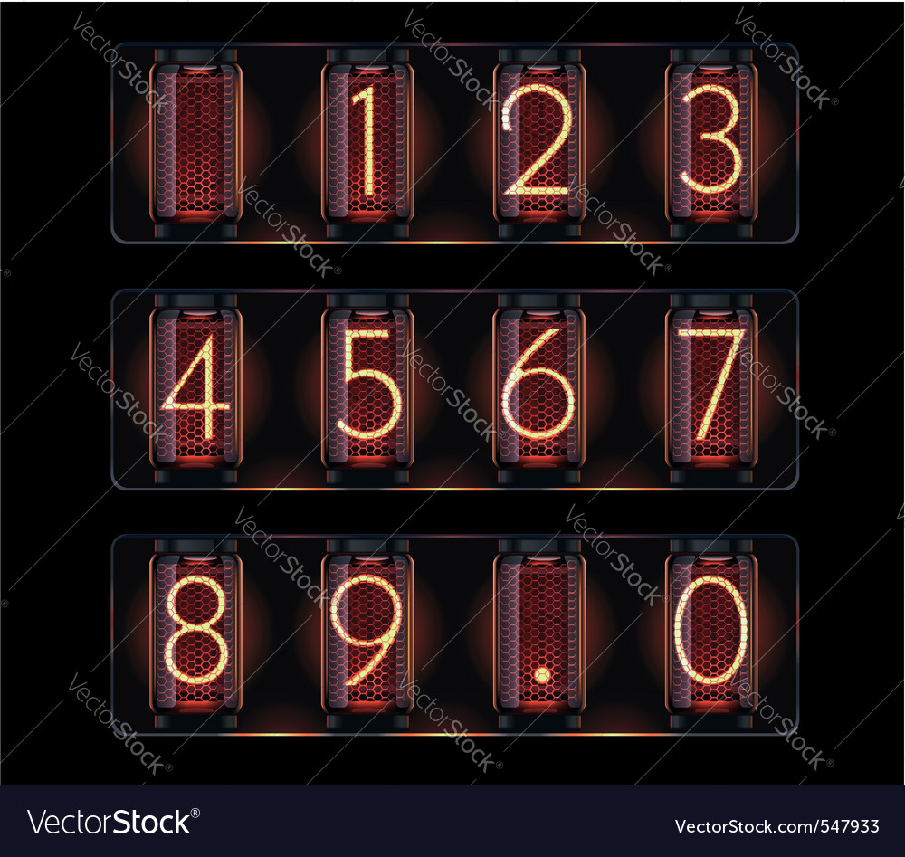 Nixie tube with digits vector