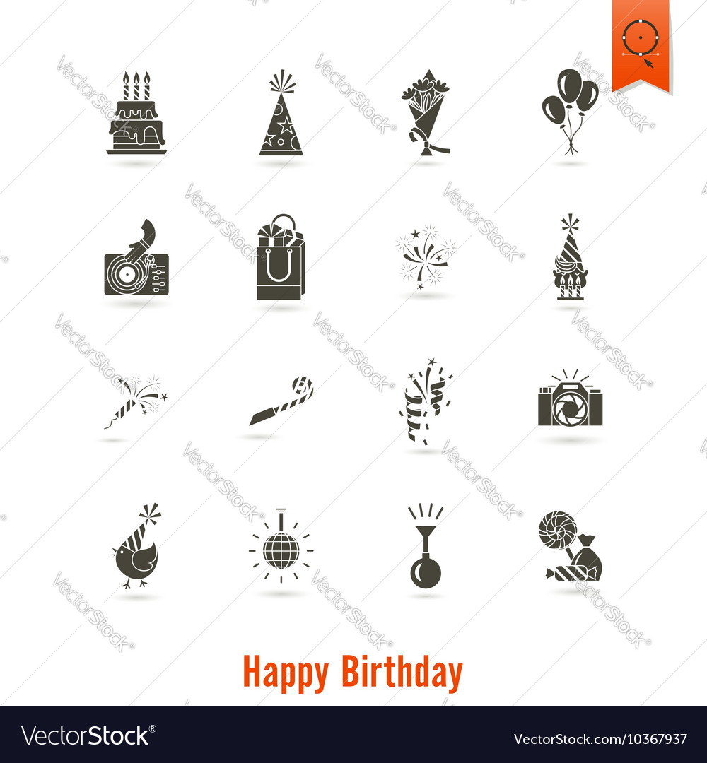 Happy birthday icons set vector by HelenStock - Image #10367937 ...: https://www.vectorstock.com/royalty-free-vector/happy-birthday...