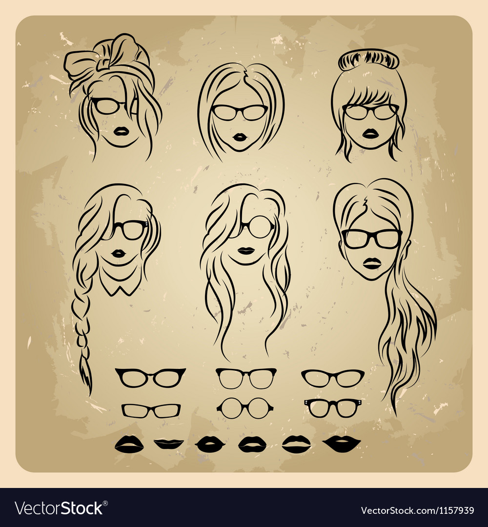 Girls faces with hair sunglasse shape of the lips vector