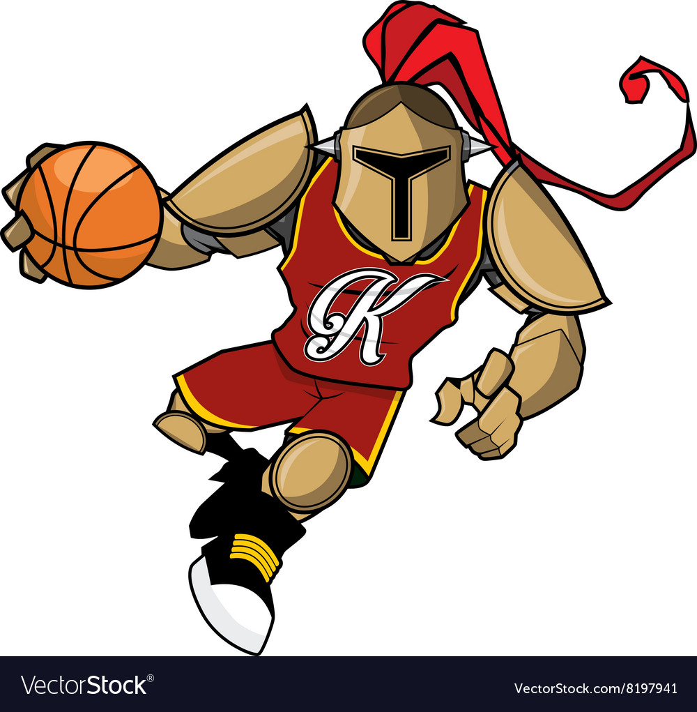 Basket ball mascot golden knight