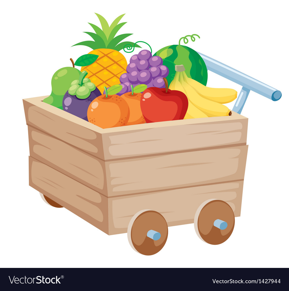 Fruits on wood trolley vector
