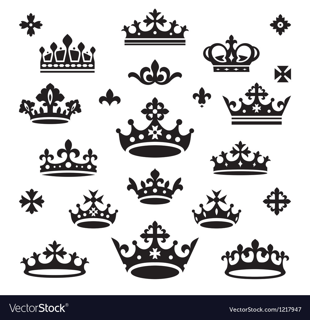 Set of crowns vector