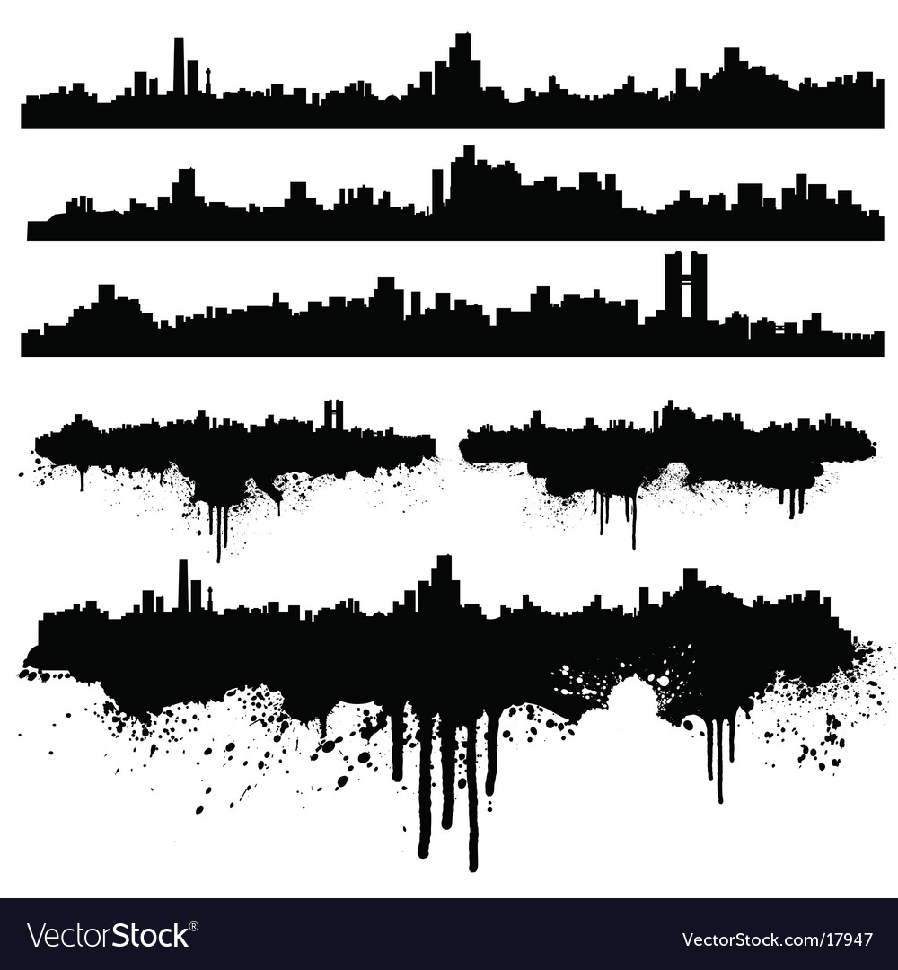 Urban skylines splatter collection vector