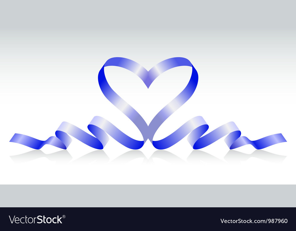 Blue ribbon in the form of heart vector