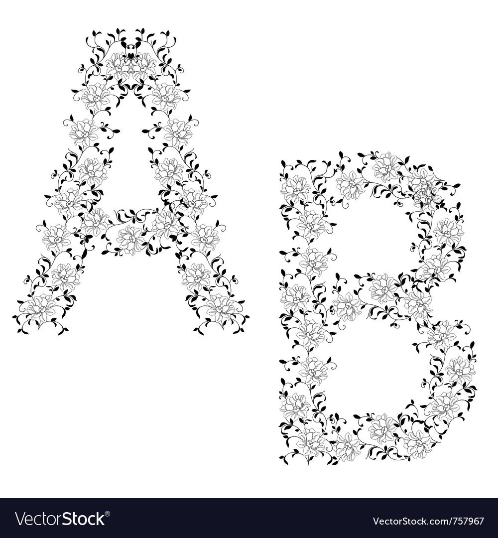 Ornamental letter ab vector