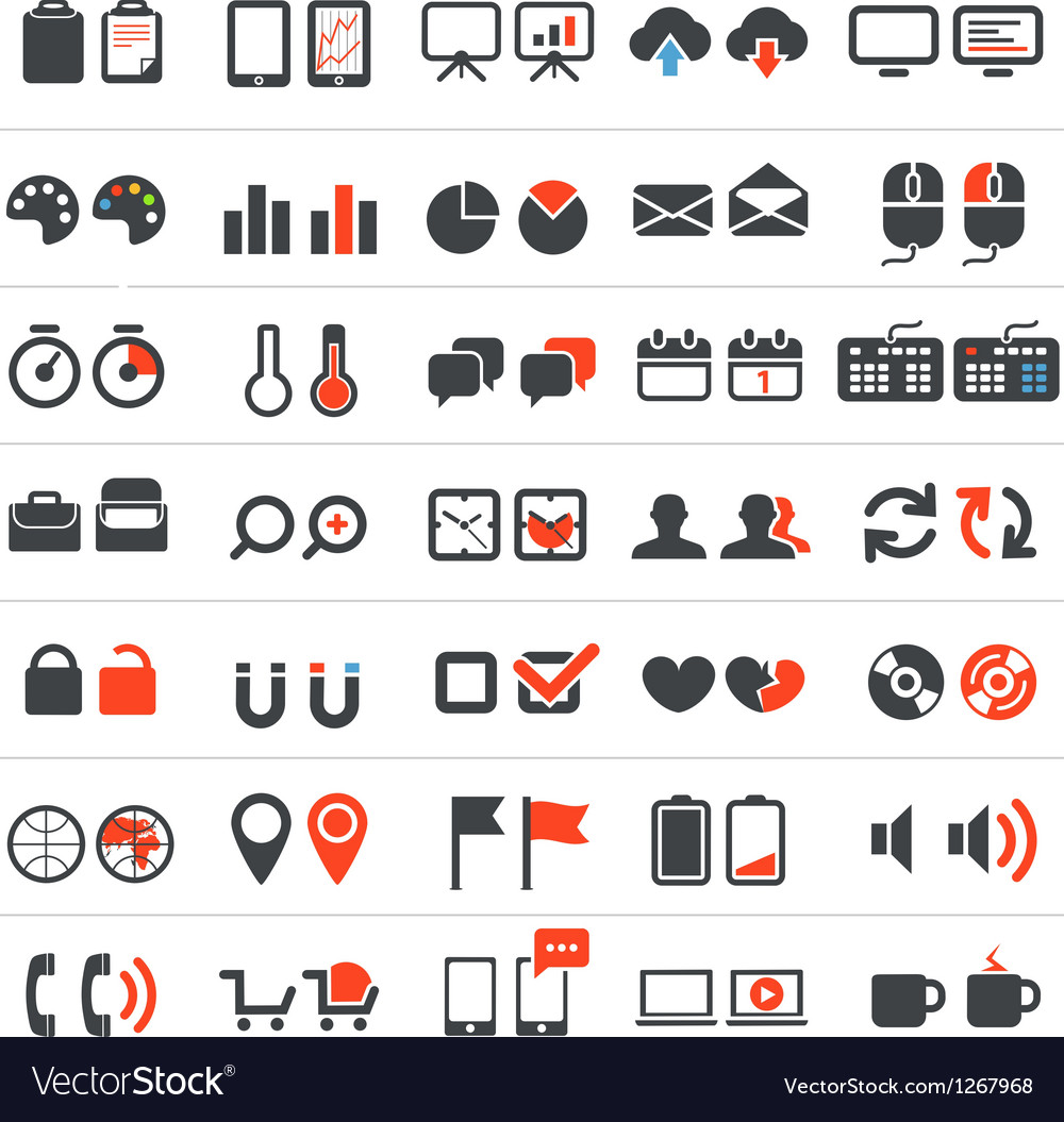 Web and business icons collection vector