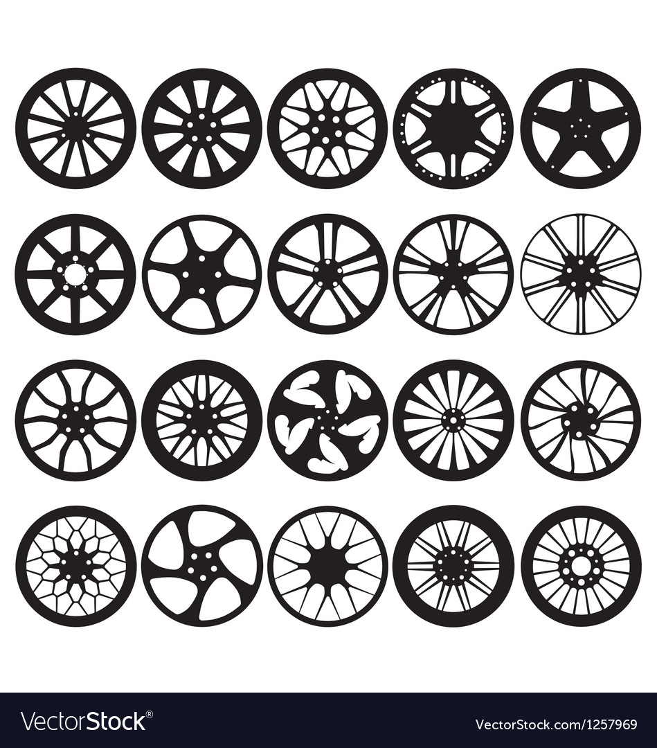 Car wheel rim silhouettes vector
