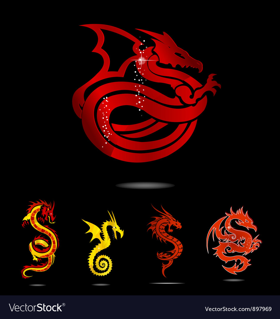 Elegance asia dragon set isolated vector