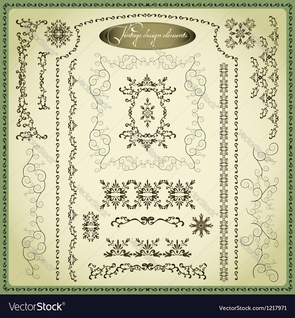 Set of decorative elements for design vintage vector
