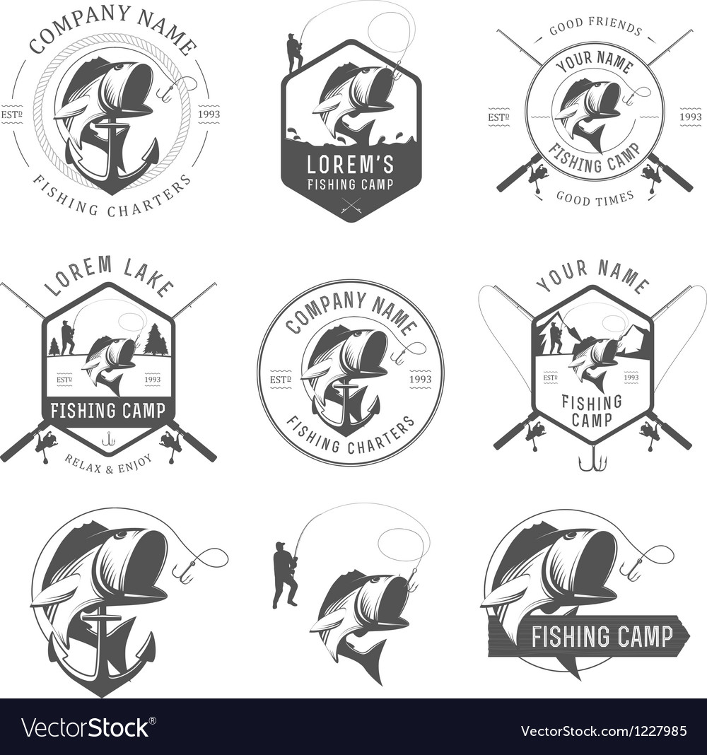 Set of vintage fishing labels and badges vector