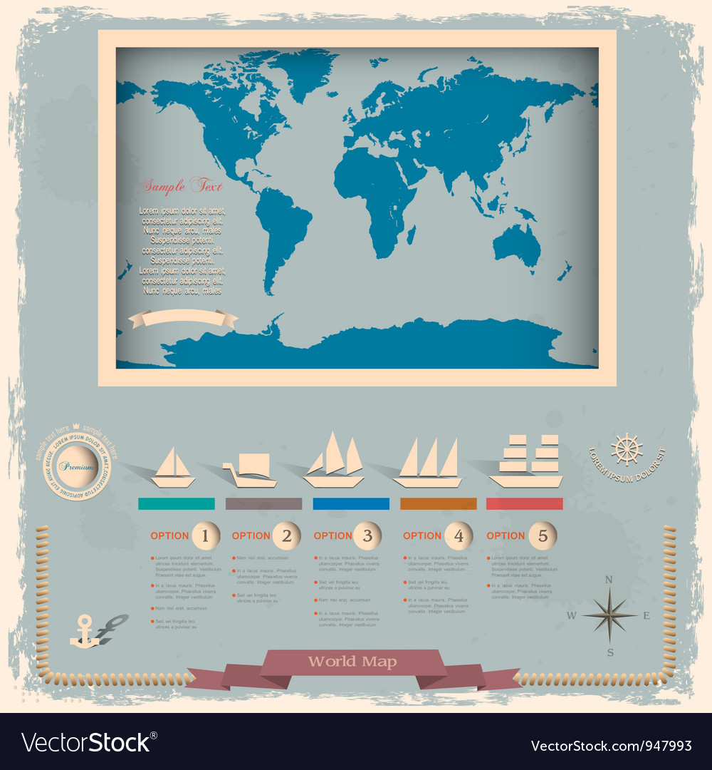 Retro style world map with nautical design vector
