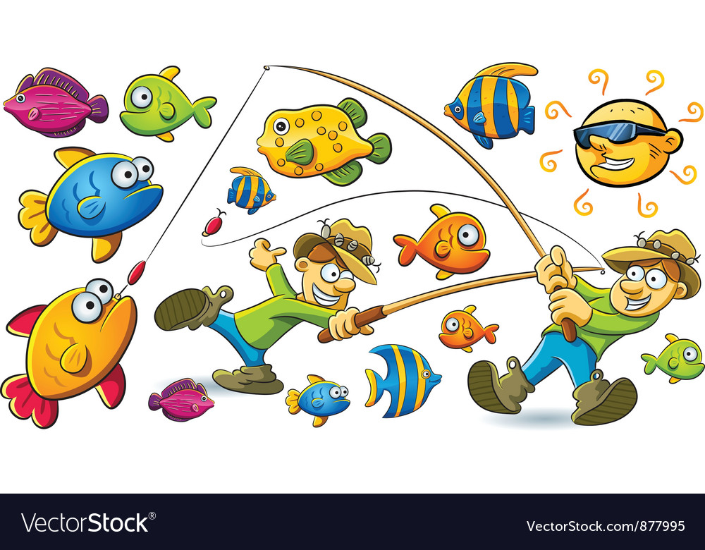 Fishing man vector