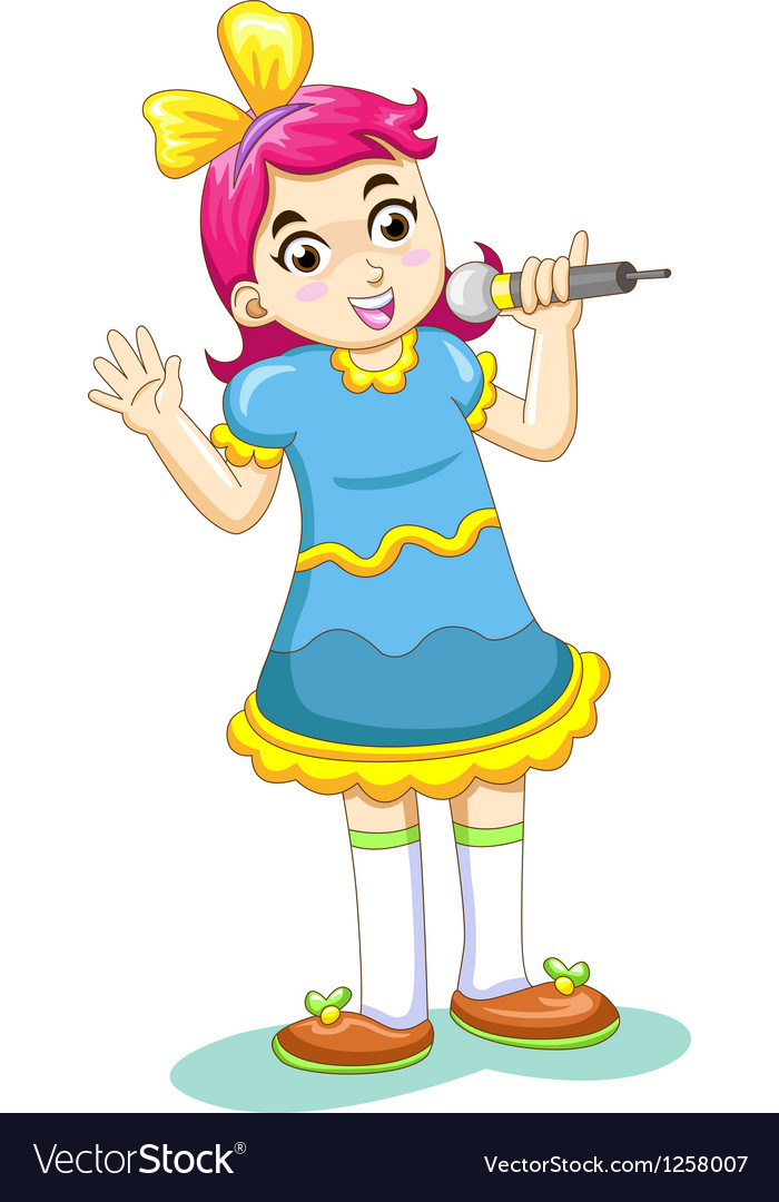 Cartoon singing girl vector