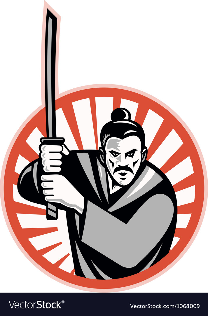 Samurai warrior sword retro vector