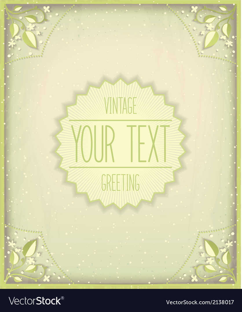 Vintage nature card template