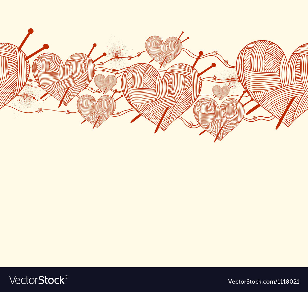 Clew heart with knitting needle seamless pattern vector