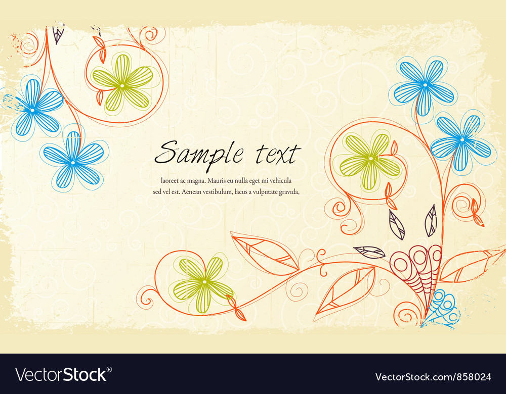 Free grunge floral background vector