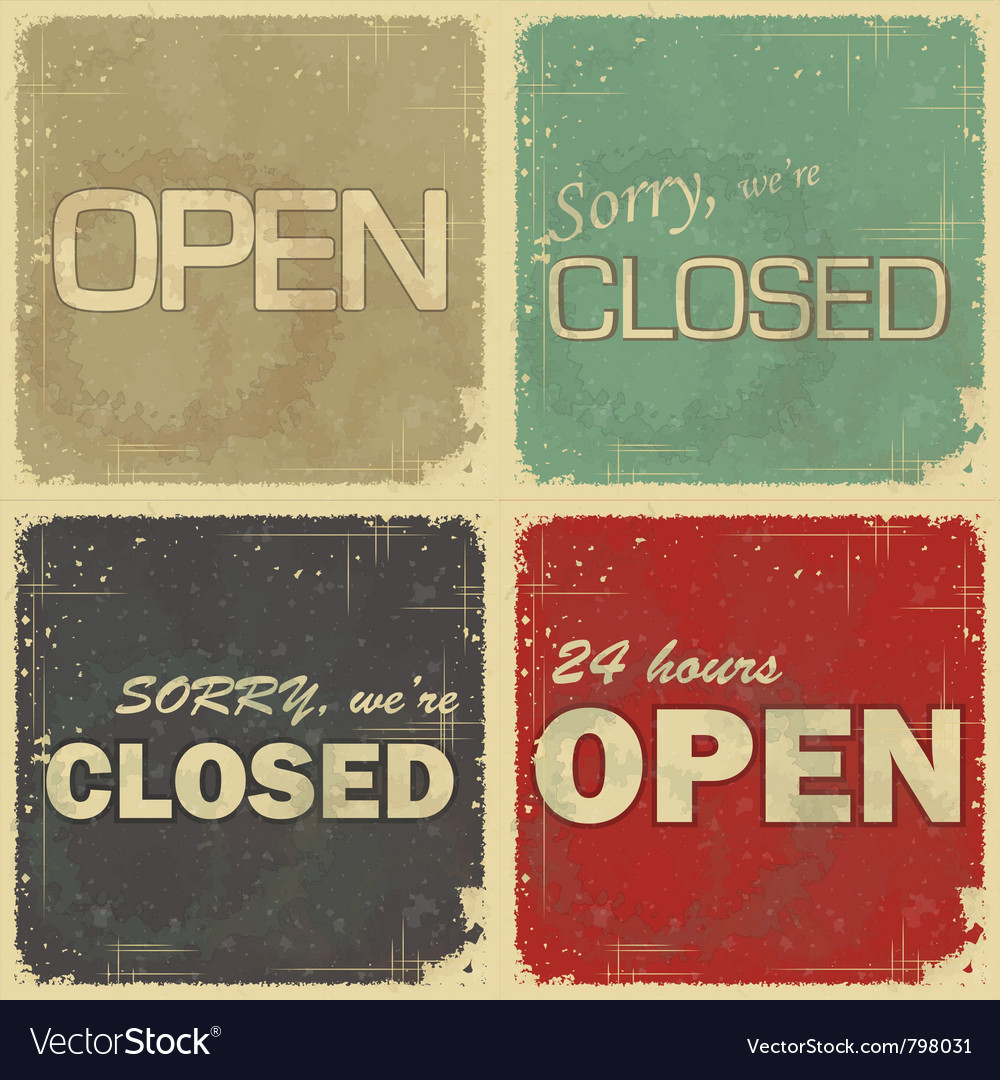 Set of signs open  closed vector