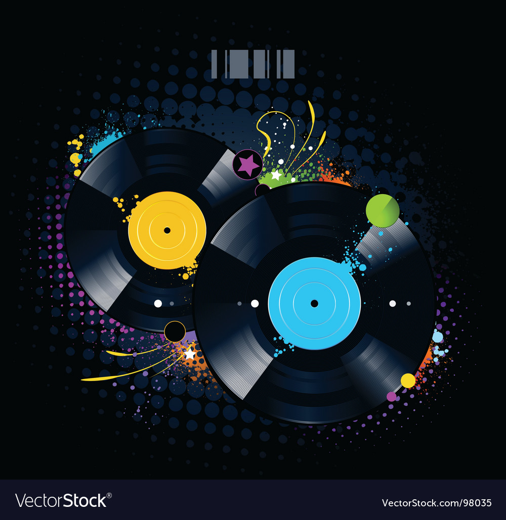 Vinyl disc graffiti vector