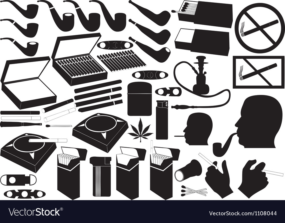 Cigarettes pipe and cigars vector