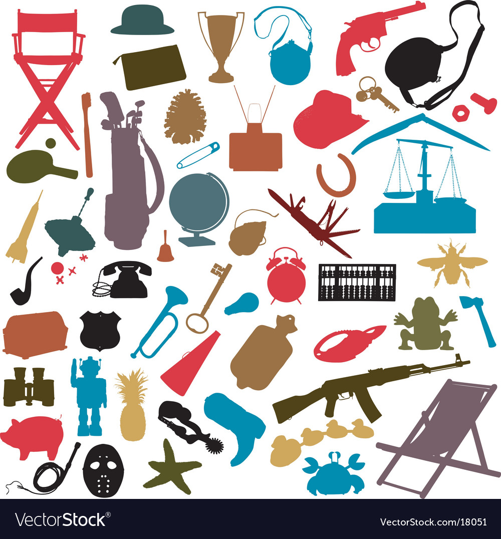 Random objects vector by mombeka image 18051 vectorstock