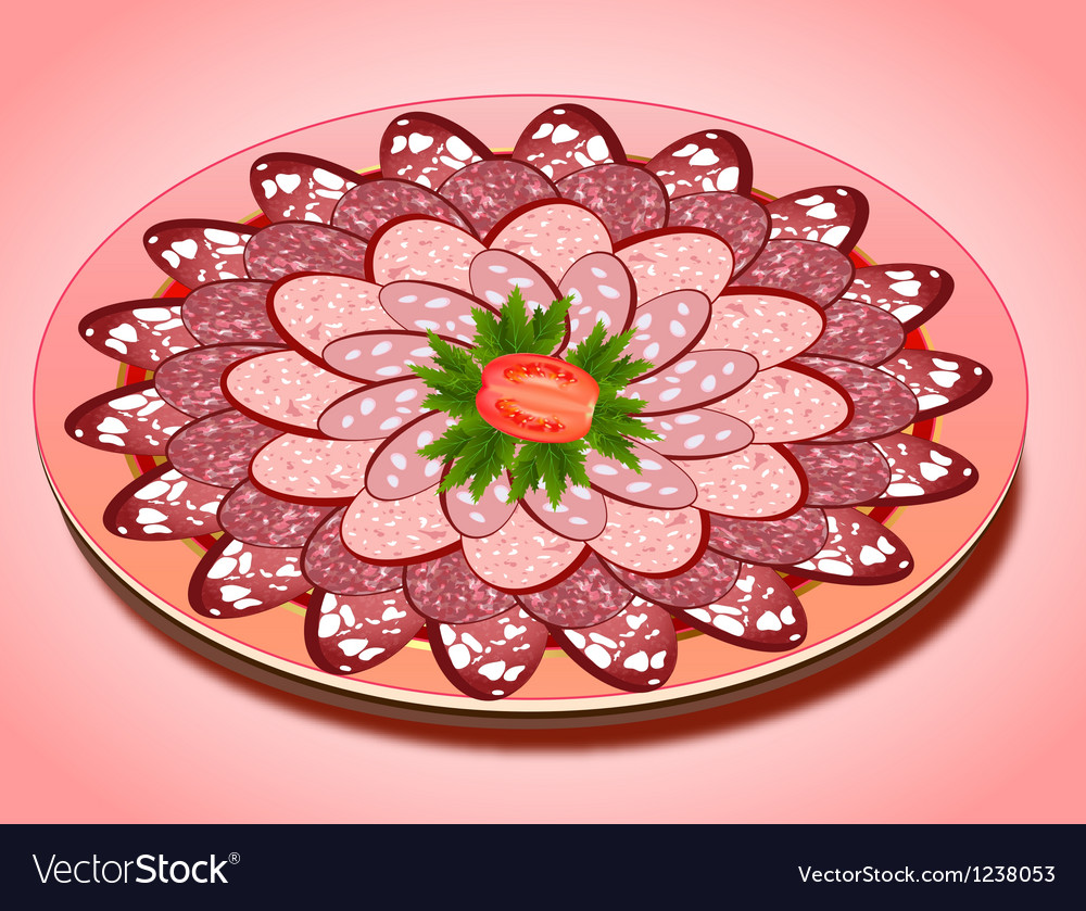 Set of sausage slices on a plate vector