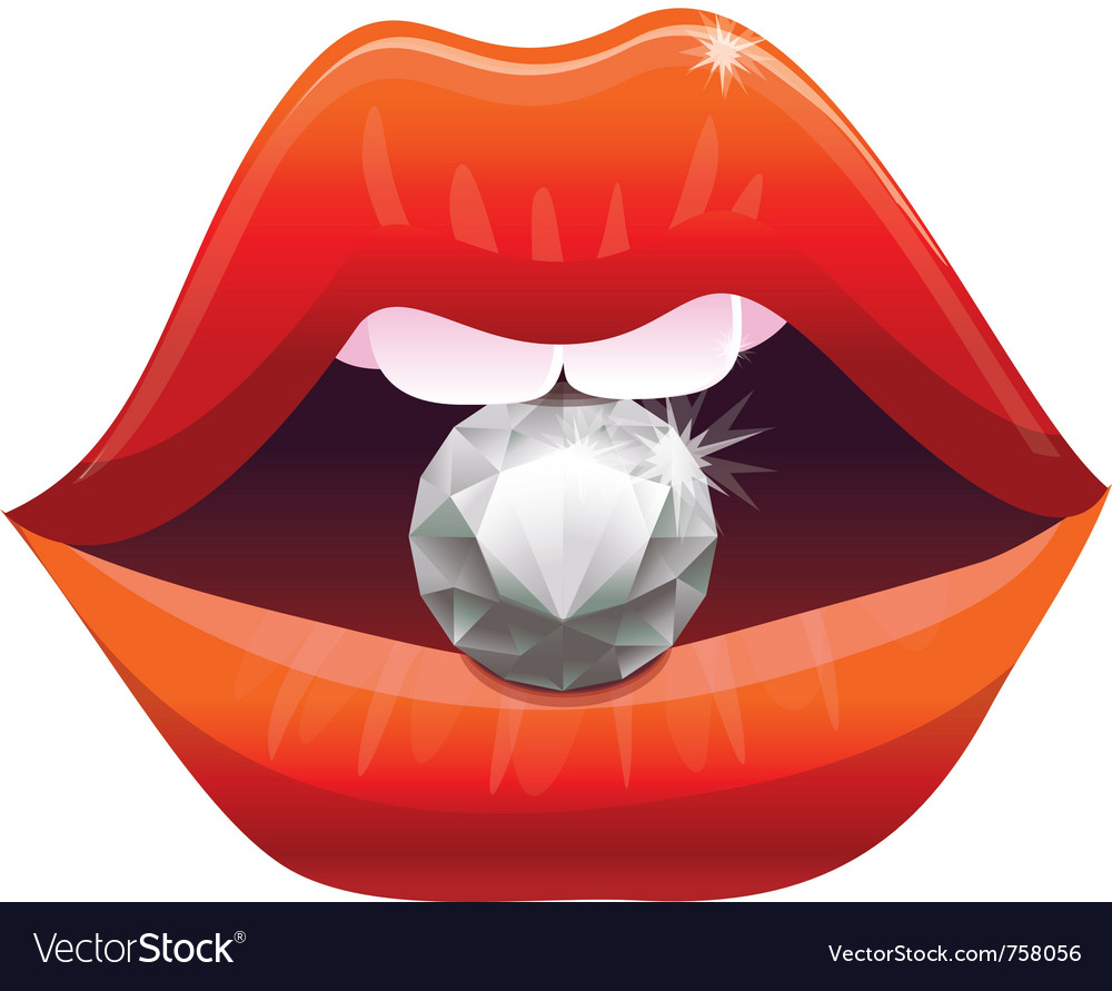 Sexy lips with diamond  vector