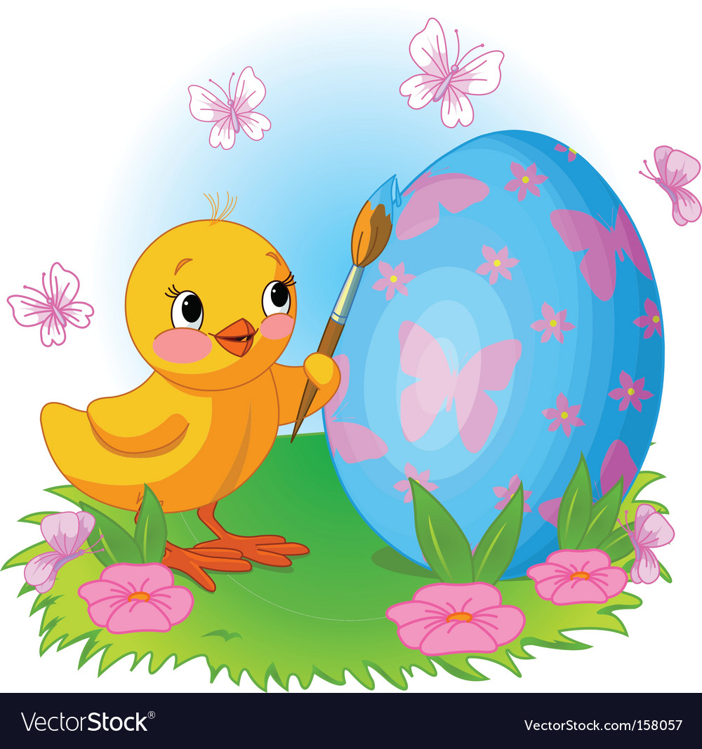 Chicken painting easter egg vector