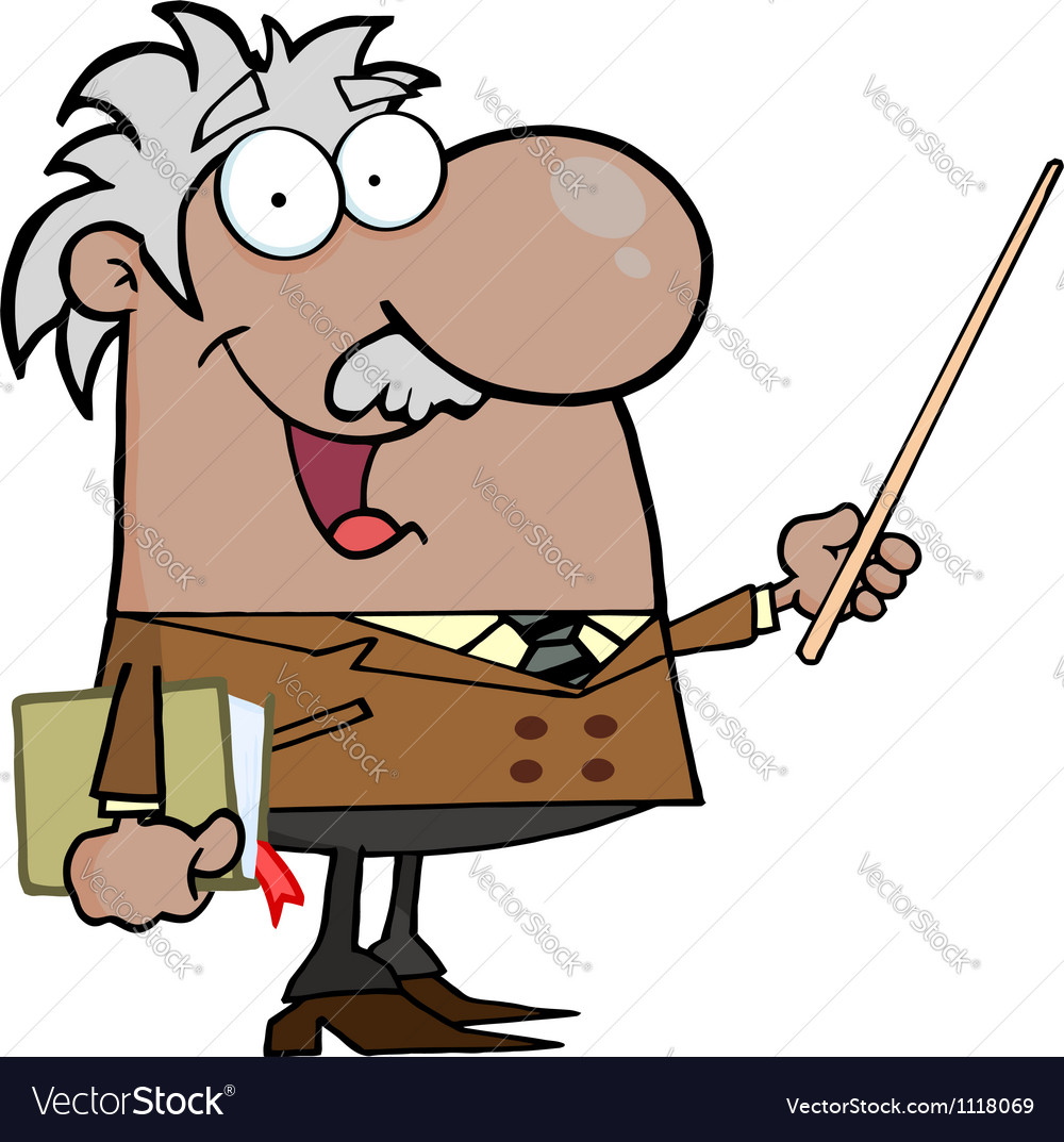 Black or hispanic professor using a pointer stick vector