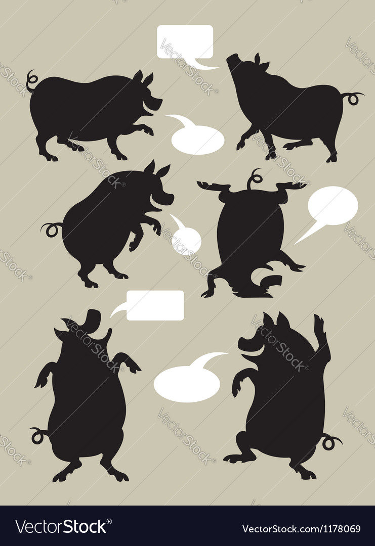 Pig dancing silhouettes vector