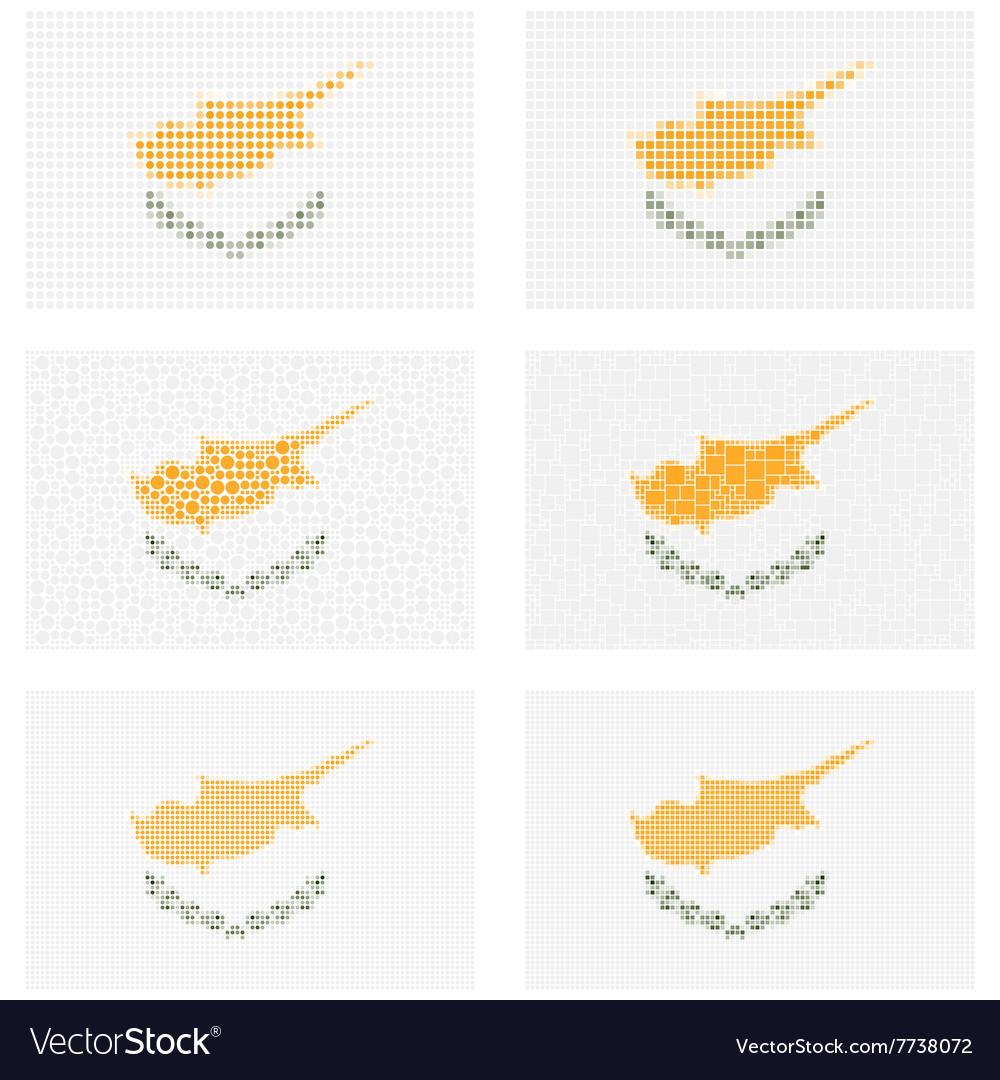 Mosaic cyprus flag set