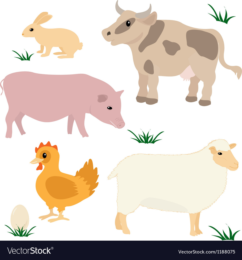 Farm animals set 1 vector