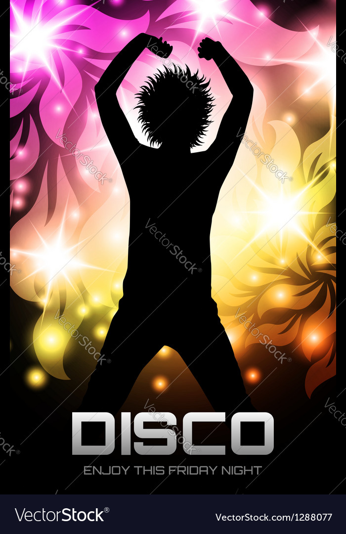 Disco party poster floral vector