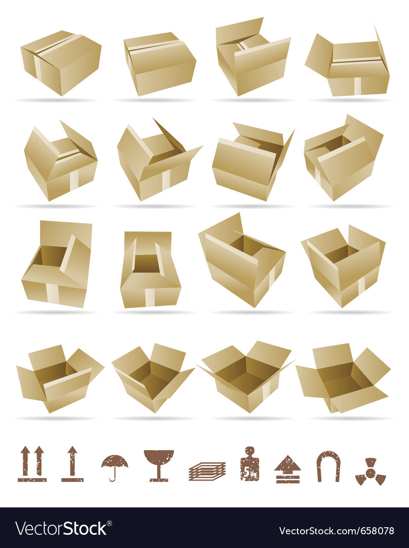 Of shipping box and box vector