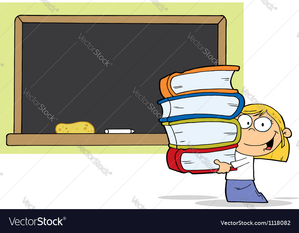 School girl carrying books vector